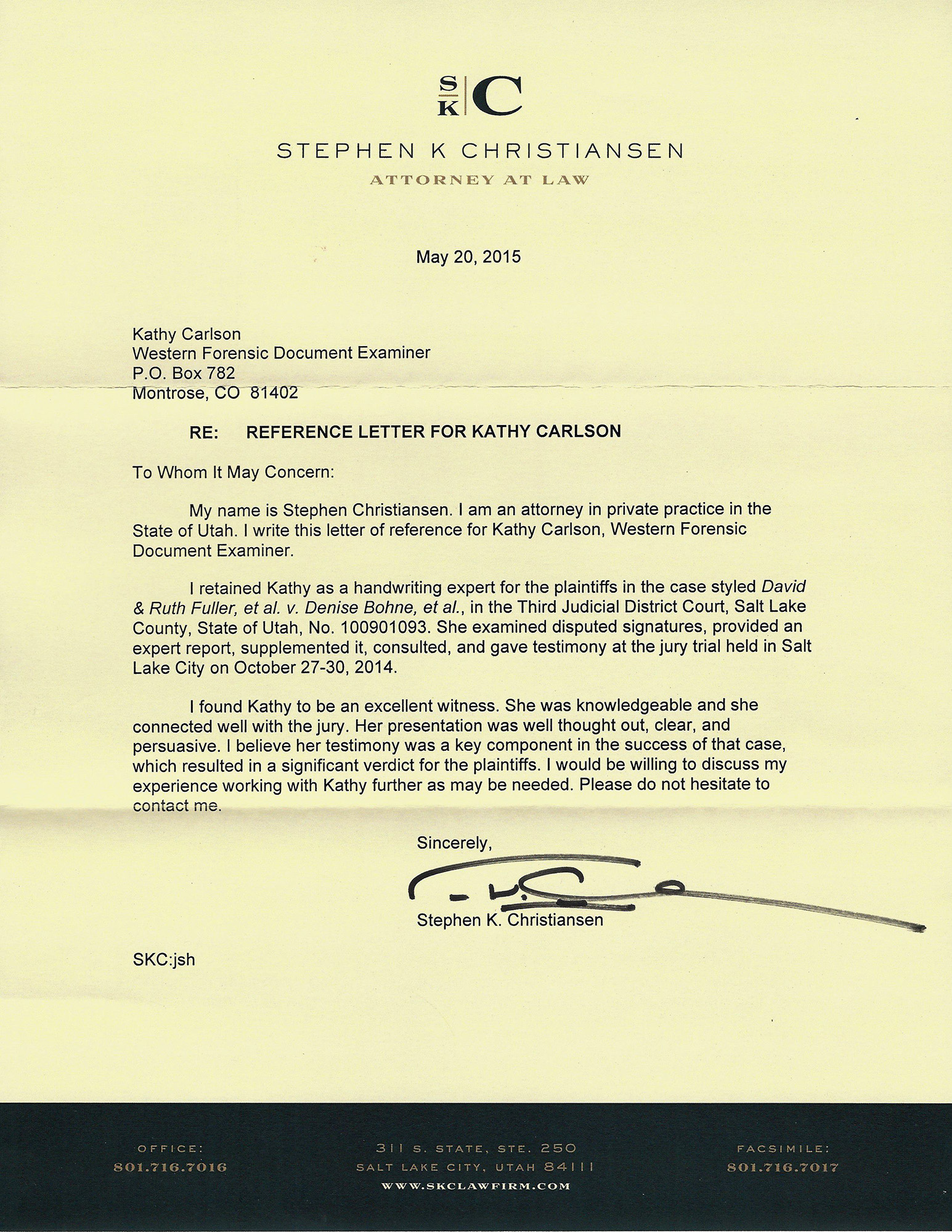Letter of Recomendation from Stephen Christiansen